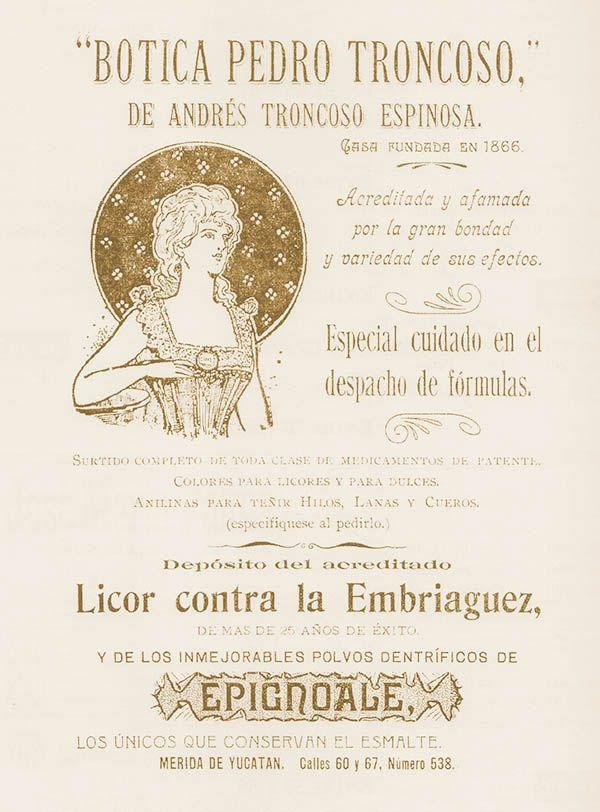 ANUNCIOS COMERCIALES HISTÓRICOS DE MÉRIDA: BOTICA PEDRO TRONCOSO