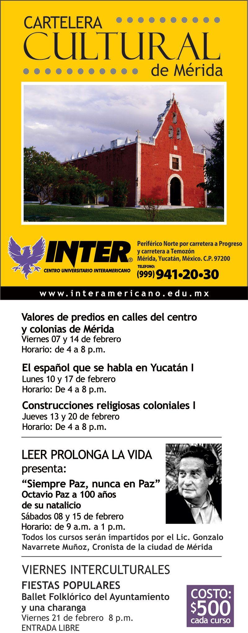 CARTELERA CULTURAL DE MÉRIDA: FEBRERO 2014