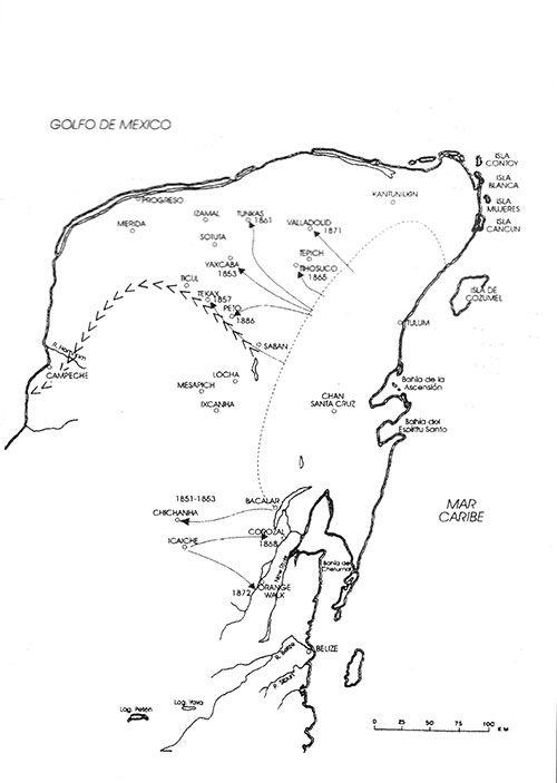 Mapa de la guerra de Castas