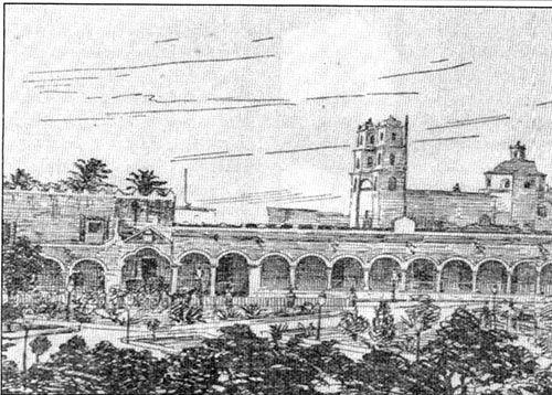 Grabado del palacio de gobierno de Mérida Yucatán