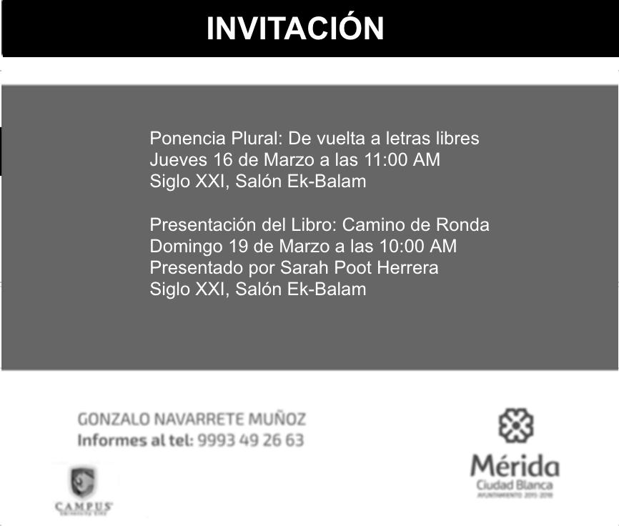 """INVITACIÓN A PONENCIA Y PRESENTACIÓN DEL LIBRO """"CAMINO DE RONDA"""""""