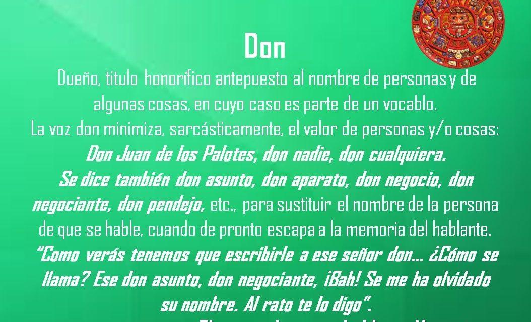 "DON: ""DON JUAN DE LOS PALOTES"""