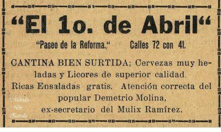 """CANTINAS DE MÉRIDA, """"EL 1 ° DE ABRIL"""""""