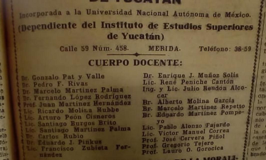 Cuerpo docente de la Escuela Preparatoria Libre de Yucatán