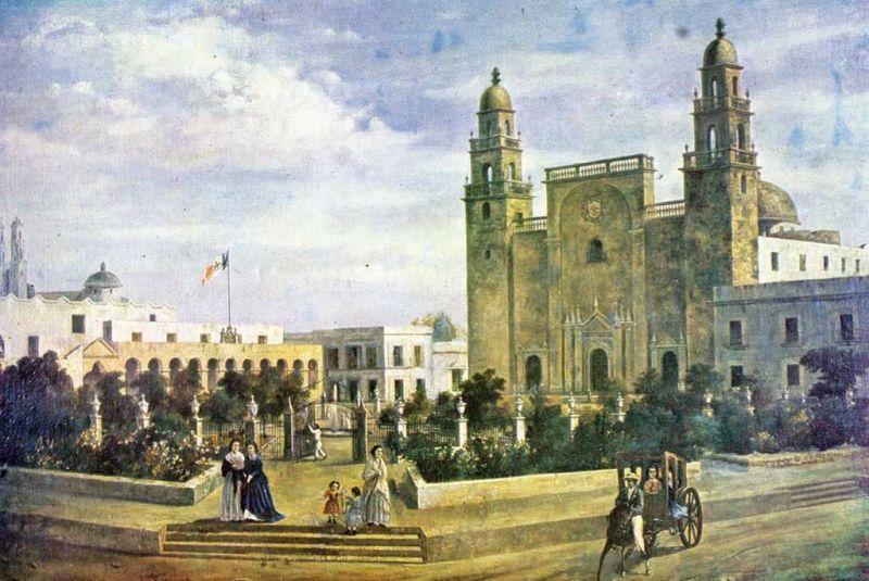 Pintura que muestra como lucía la Plaza Grande y la Catedral de Mérida